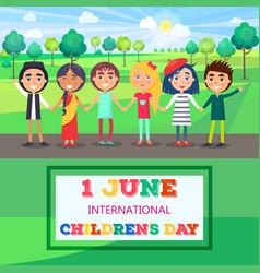 1 june international children day poster of kids vector