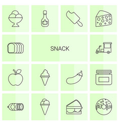14 snack icons vector