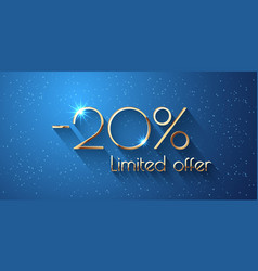 20 percent offer background with golden shining vector