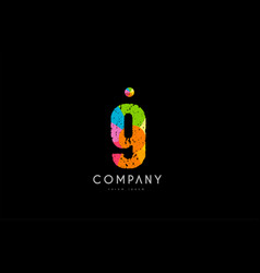 9 number grunge color rainbow numeral digit logo vector