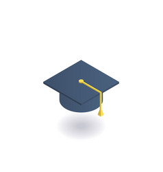 academic hat graduation cap isometric icon vector image