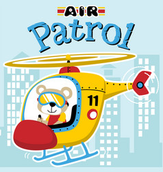 Air patrol cartoon with funny helicopter pilot vector