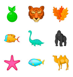 Animal world icons set cartoon style vector