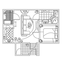 Architectural sketch flat plan top view with vector