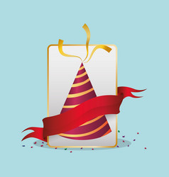 Birthdat hat confetti red ribbon vector