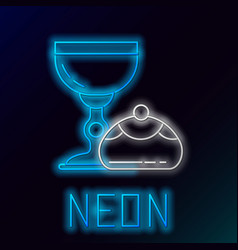 blue glowing neon line jewish goblet and hanukkah vector image