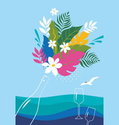 bottle champagne with bouquet flowers vector image