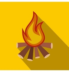 Burning bonfire flat icon vector image