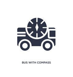 Bus with compass icon on white background simple vector