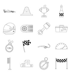 car and rally sign set of vector image