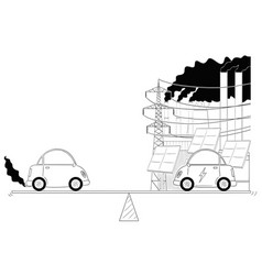 cartoon of fuel and electric cars measured on vector image
