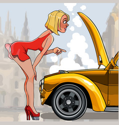 Cartoon sexy woman looking under the hood of a car vector