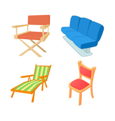 chair icon set cartoon style vector image