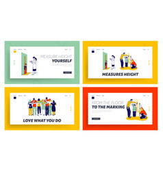 Child height measuring friends hugs landing page vector