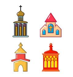 church icon set cartoon style vector image