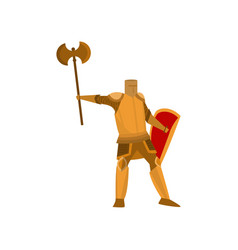 close-up of heavyset knight stands in yellow armor vector image