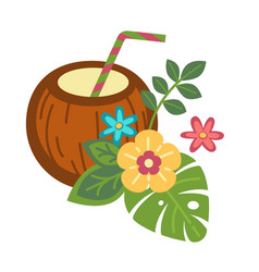 cocktail inside whole coconut with straw and vector image