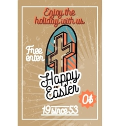 Color vintage easter banner vector