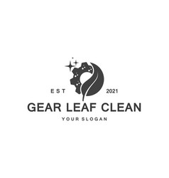 creative clean gear leaf agricultural technology vector image