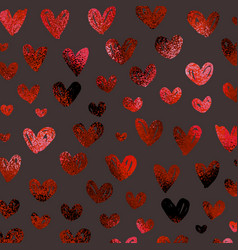 decorative background foil surface red hearts vector image