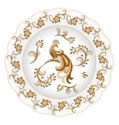 Decorative porcelain plate ornate with an vector