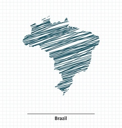 Doodle sketch of Brazil map vector