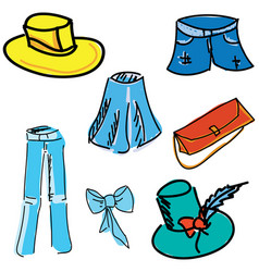 drawn colored clothes vector image