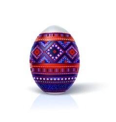 Easter egg with multi-colored geometric ornament vector image