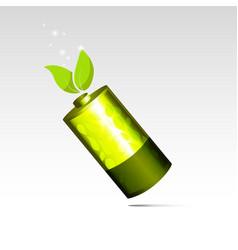 Eco energy battery with green leaf vector