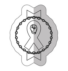 Figure hand breast cancer defense ribbon vector