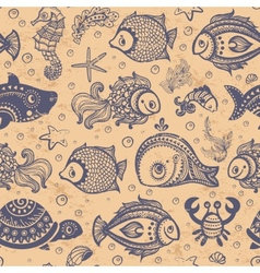 fish and shells seamless vector image
