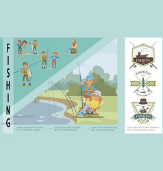 flat fishing hobby concept vector image