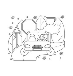 flat in lines with girl in a car vector image