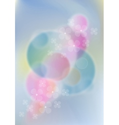 Flowers on light pink and blue mesh background vector image