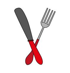 Fork and knife utensil kitchen vector