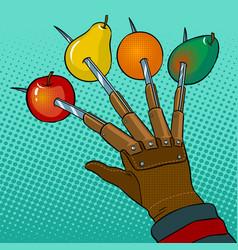 fruits horror pop art vector image vector image