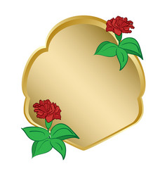 Golden shield with carnation vector