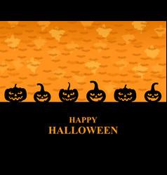 halloween greeting pumpkins card vector image