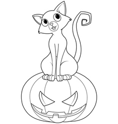 Halloween on pumpkin coloring page vector