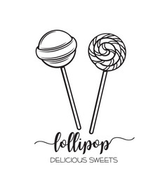 Hand drawn lollipop candy vector