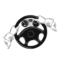 hands on the wheel vector image
