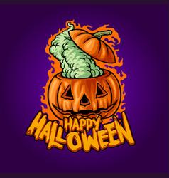 happy halloween withcraft jack o lantern vector image