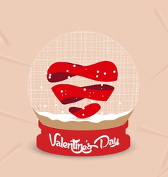Happy valentines day heart globe vector