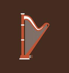 harp flat icon classic music instrument vector image