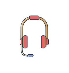 headphones with microphone headset melody sound vector image