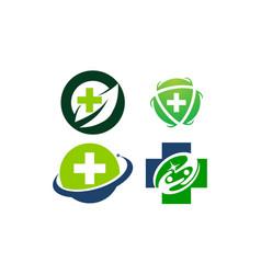 health center template set vector image