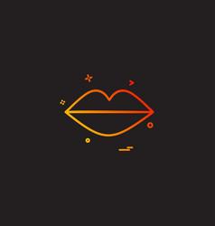 Heart lipstick lips red icon design vector