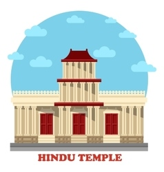 Hindu temple or mandir facade exterior view vector