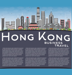 hong kong skyline with gray buildings blue sky vector image