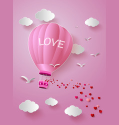 hot air balloon with love vector image